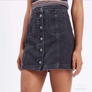 TopShop Moto Denim Mini Skirt Button Front